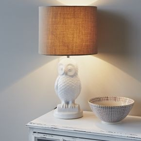 White Ceramic Owl Lamp Pinned by www.myowlbarn.com