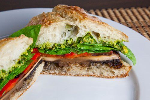 Grilled Portobello and Roasted Red Pepper Sandwich with Pistachio Pes ...