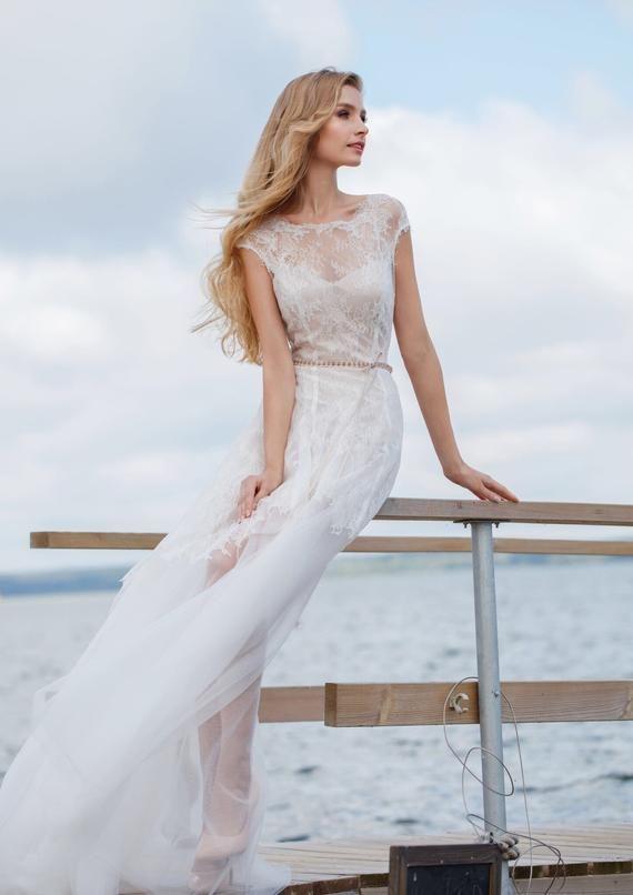 Boho short wedding dress Ivory lace dress short wedding dress bohemian elegant light beach wedding d 1