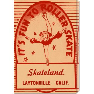 RetroRollers 'It's Fun To Roller Skate' Stretched Canvas Art