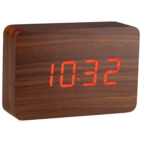 Buy Click Clock The Brick LED Alarm Clock, Walnut Red Online at johnlewis.com