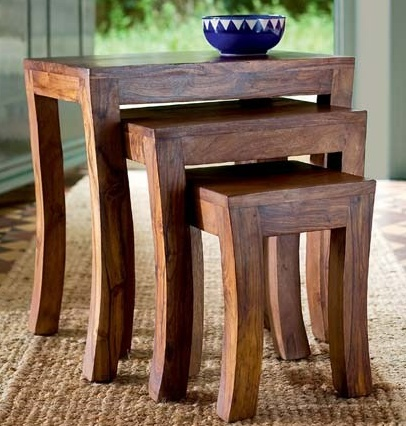 This nest of tables doesn't take up much space, looks great and it's fair trade too.