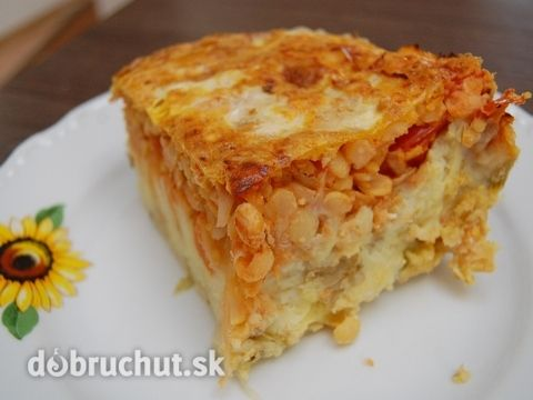 Fotorecept: Zapekaná zemiaková kaša s hrachom a rajčinami