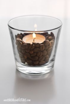 Decora tus velas con granos de café