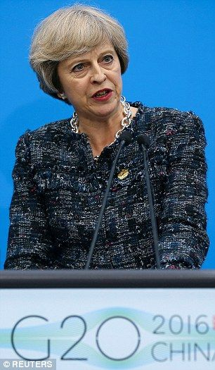 Theresa May's blueprint to curb EU migrants post-Brexit is revealed | Daily Mail Online Tough stance: Prime Minister Theresa May, pictured at the closing of the G20 summit in Hangzhou, China, on Monday.sep16