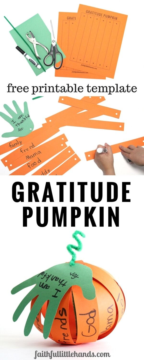 Gratitude Pumpkin Kids Thanksgiving Handprint Craft Pin