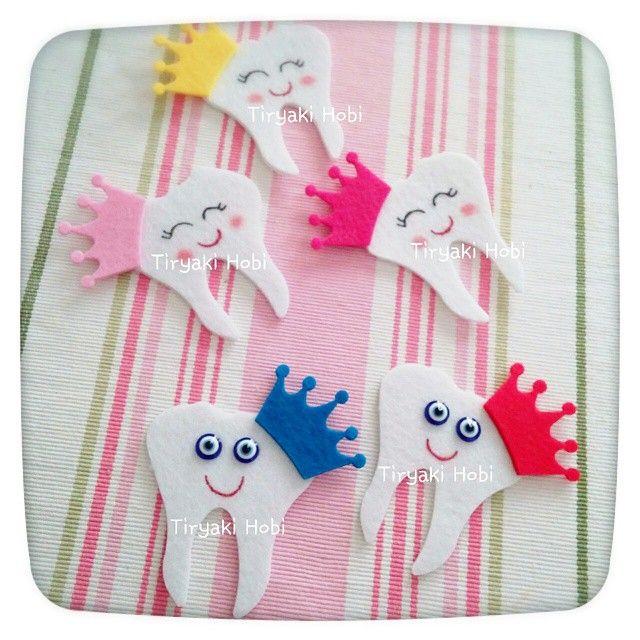 ♥ Tiryaki Hobi ♥: Keçe diş magnet  ----------  felt teeth