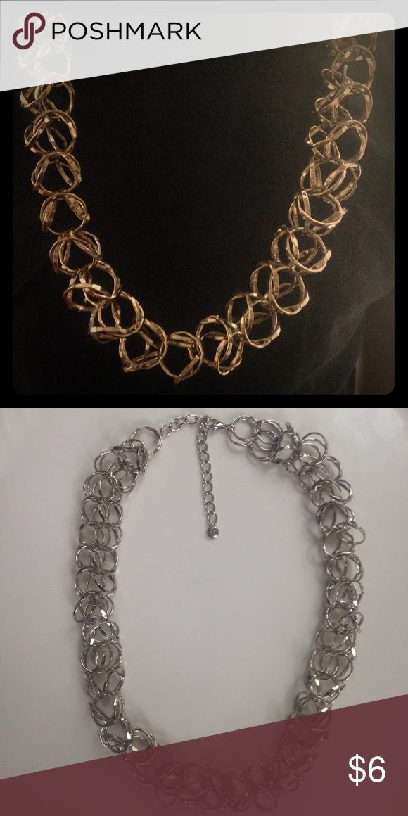 """LOFT Chunky Gold & Metallic-Tone Necklace Ann Taylor LOFT Chunk Gold & Metallic-Toned Ring Chain Necklace. 24-28"""" with adjustable clasp. LOFT Jewelry Necklaces"""