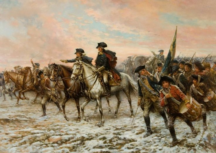 Edward Percy Moran, Washington inspecting the captured colors after the battle of Trenton. Lithograph of painting by Hayes Litho. Co., Buffalo, N.Y., 1914. / Battle of Trenton·George Washington's Mount Vernon