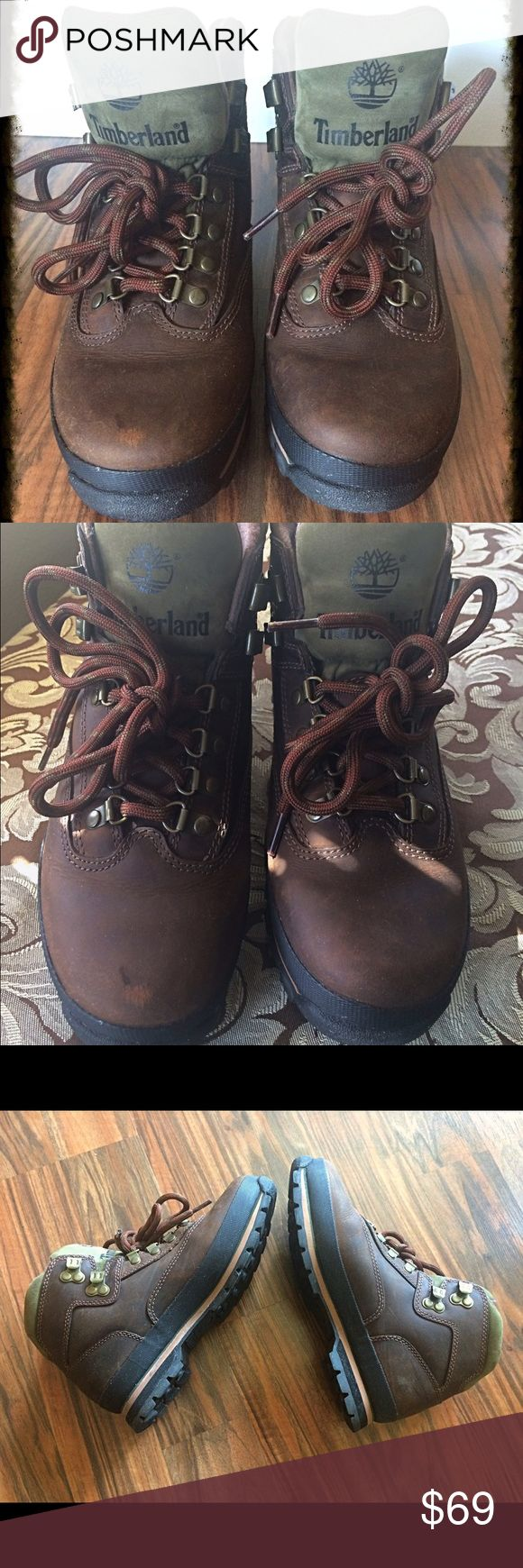 Timberland Euro Hiker Boots🍃 These boots are for the adventurous girl out there , loves to hike and explore! In super awesome condition I wore these two times very clean really no scuffs to speak of as these were designed to have distressed feel Size 8 Timberland Shoes Ankle Boots & Booties