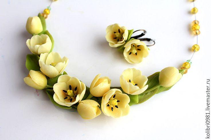 Купить Желтые тюльпаны. Украшение из полимерной глины. - желтый, тюльпаны, колье с цветами