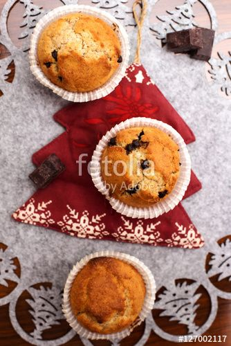 homemade muffins in christmas background