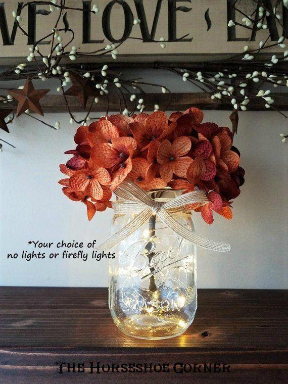 Mason Jar With Lights Lighted Mason Jar Vase Rustic Wedding Etsy Jar Lights Mason Jar Vases Mason Jar Lighting
