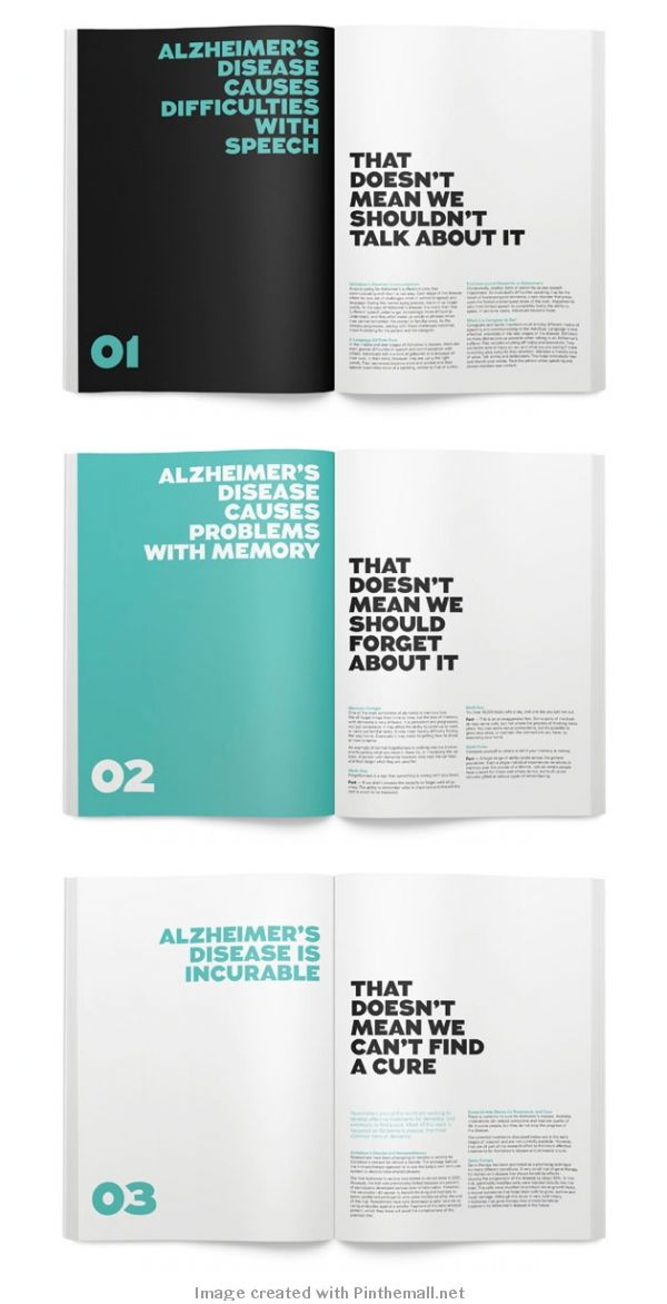 Alzheimer's Australia. two color. alternate page headline. #print #book