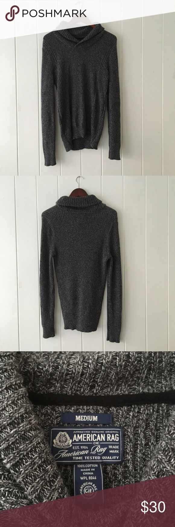 American Rag Men's Shawl Neck Pullover Sweater Modern shawl-collar sweater in soft cotton for ultimate comfort. Warm knit pullover sweater. Dark gray color. Last picture shows fit American Rag Sweaters V-Neck