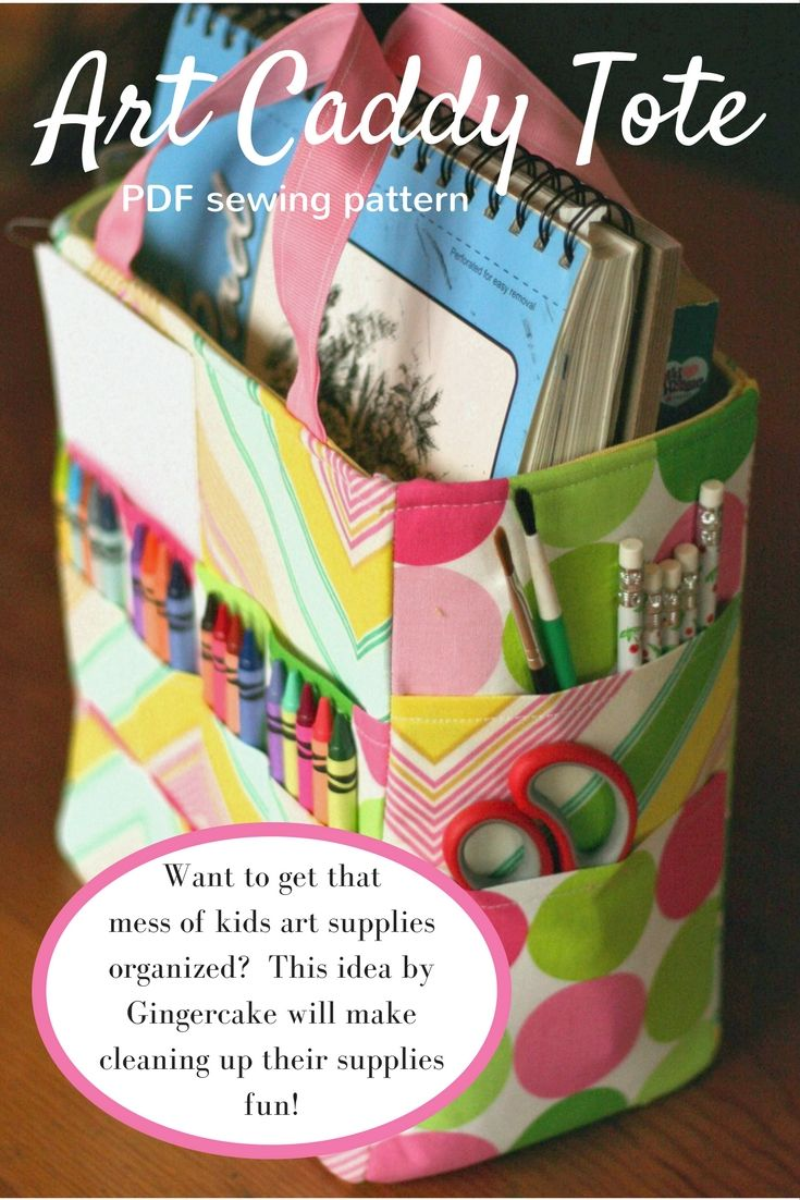 THe art caddy tote by Gingercake. I think this could really work to keep all those crayons and art supplies for my 4 year old more organized! Love all the pockets too!