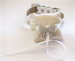 Couture White Leather Ring Pillow Bearers Collar - Ivory/Rhinestone Bow