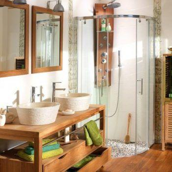 Les 25 meilleures id es concernant salle de bain teck sur - Idee deco pas cher appartement ...