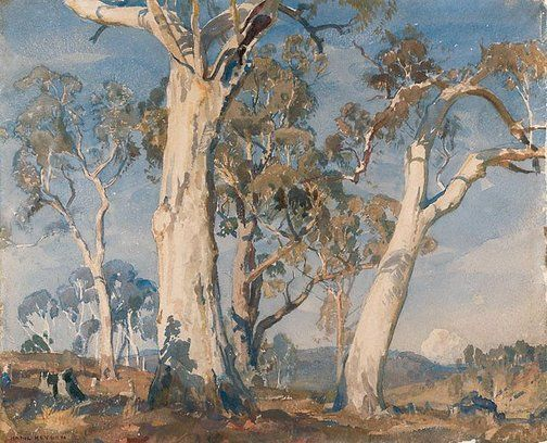 Hans Heysen (Germany, Australia, France 08 Oct 1877 – 02 Jul 1968):  The white gum  1923.