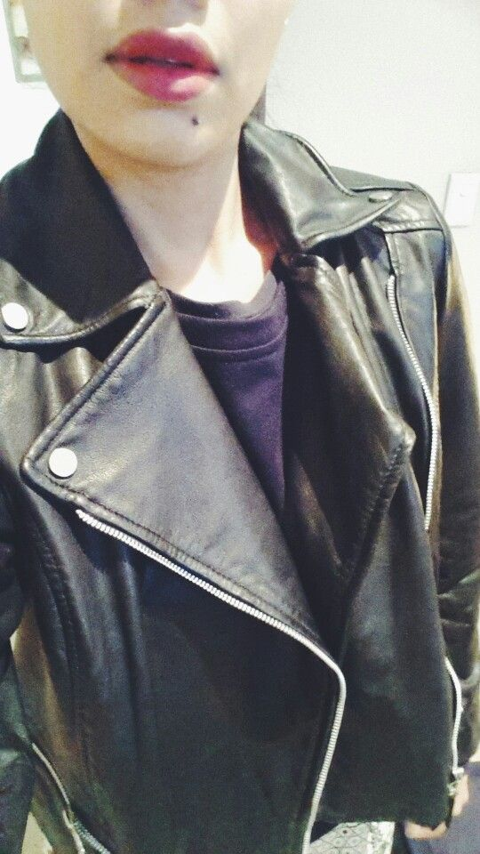 Leather biker jacket and red lips