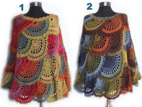 Poncho del ganchillo capa Multicolor Boho Poncho capa