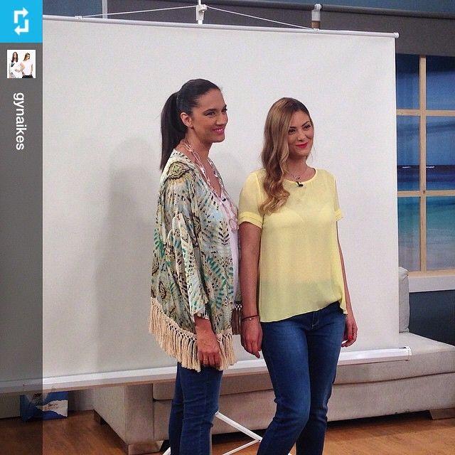 Η Νόνη Δούνια με #matfashion κιμονό στα γυρίσματα του νέου trailer της εκπομπής @gynaikes του @epsilon_tv  #Repost from @gynaikes Γυρίζουμεε το νέο μας trailer❤️ #gynaikes #epsilontv • #summer2015 #collection #wears_mat #dresslike #fashionista #ootd #fashion #inspiration