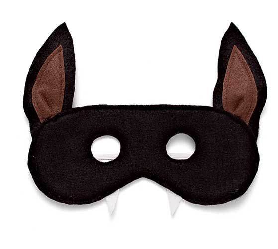 "bat mask with pattern.  You need black, brown, and white felt, fleece interfacing, thread, and 1/4"" elastic."