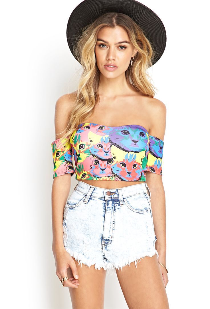 Looks best paired with it's matching skirt, this crop top features a multi-color cat print and off-the-shoulder short sleeves. Description from forever21.com. I searched for this on bing.com/images