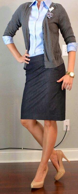 I like the grey cardi with blue dress shirt