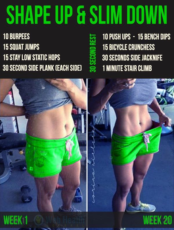 Shape up and slim down Workouts for women at home.
