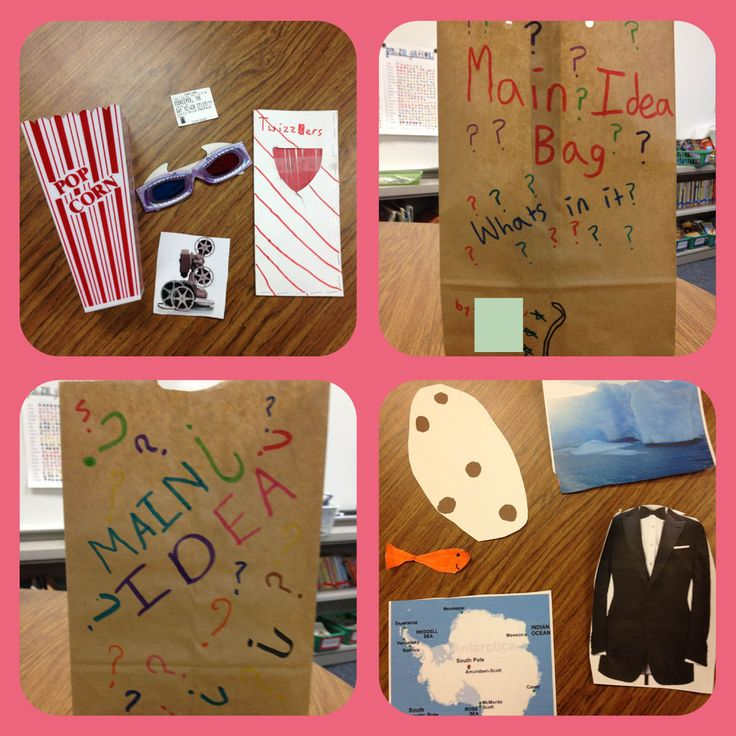 Teaching main idea and supporting details with a paper bag. (Model first, ie stuff to make brownies.  Then students create own in groups or solo providing clues for others to guess their main idea. This can be done with other classmates or present to younger class).