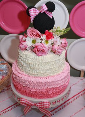Cute Cake: Birthday Parties, Minis Mouse, Cakes Toppers, Baby Girl, Ruffles Cakes, Minnie Mouse Cakes, Minnie Mouse Parties, Birthday Ideas, Birthday Cakes