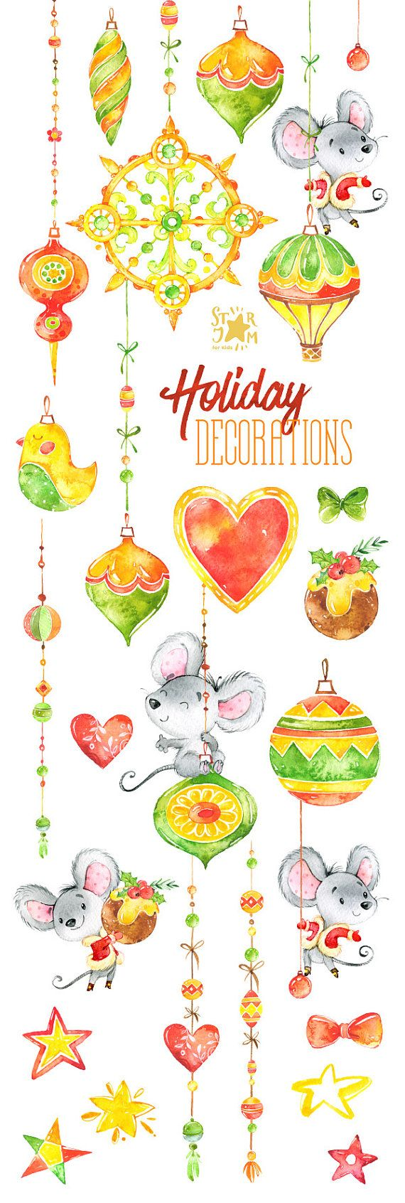 Holiday Decorations. Christmas Watercolor от StarJamforKids