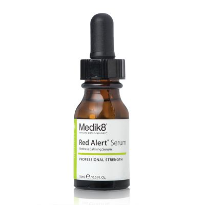 Medik8 Red Alert Serum -  Skin redness is a common problem for millions of people. Red Alert Serum provides intensive, calming relief for redness and flare-ups caused by skin hypersensitivity and utilises the latest cosmeceutical discoveries in the field of topical treatment of facial thread veins, skin irritation and erythema. A welcome and surprising side-effect of the key Red Alert Serum active, Teprenone, is an anti-wrinkle action.