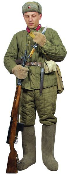 Soviet infantry sergeant 1942 armed with SVT40 semi automatic sniper's rifle. Dressed in full padded suit, Ushanka 'fish fur' hat and Valenki felt boots.