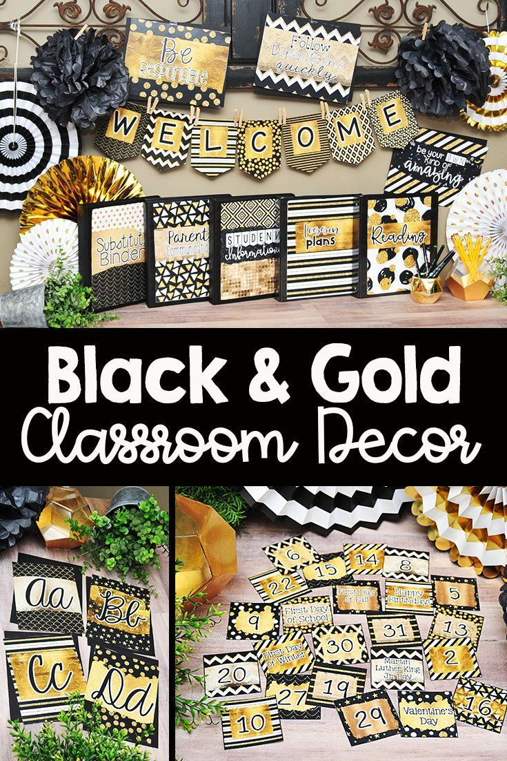 Black And Gold Glitter Classroom Decor With Images Classroom