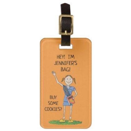 Neon Orange Girl Scout Cadette | Custom Luggage Tag - travel luggage tags personalize customize your name diy