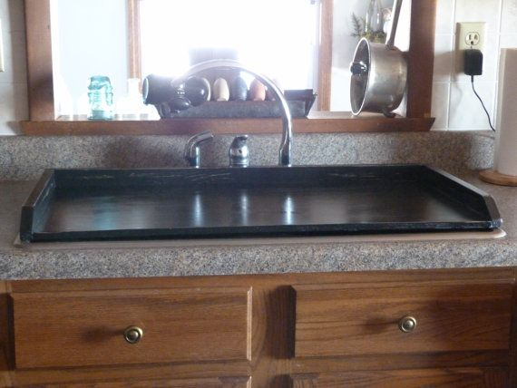 Primitive Kitchen Tray Black Sink Cover By RusticPrairieCottage