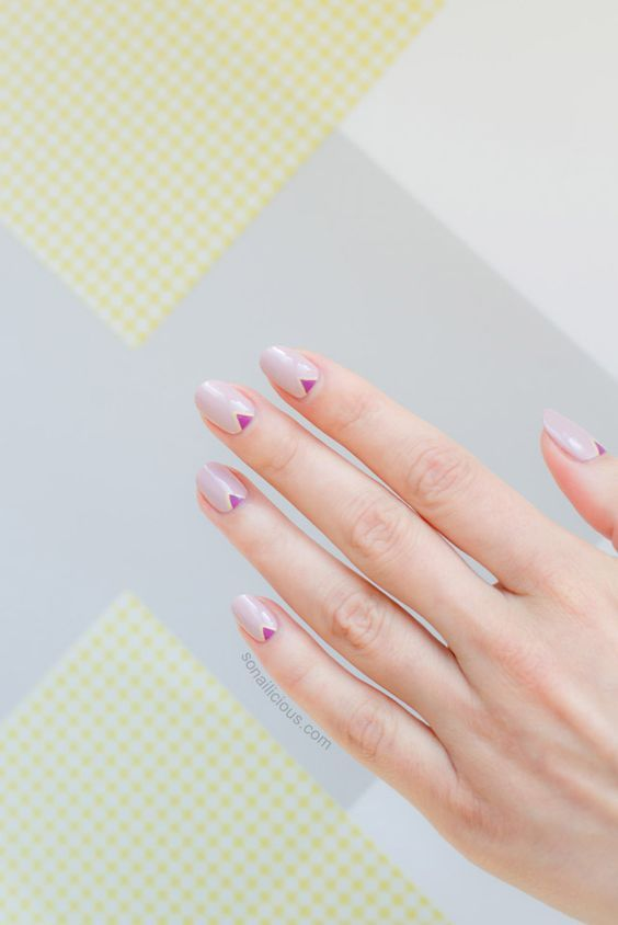 Minimalist Nail Art With Triangles Simply beautiful minimalist nails with tiny pink triangles