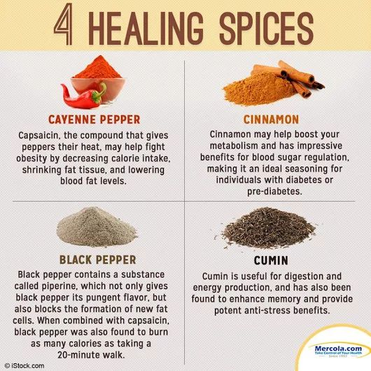 4 healing spices ~ Cayenne pepper, Cinnamon, Black pepper & Cumin