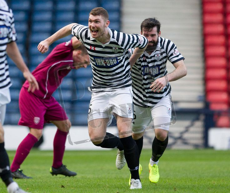 Queen's Park's Ryan McGeever celebrates scoring the winning goal during the SPFL League Two game between Queen's Park and Arbroath.