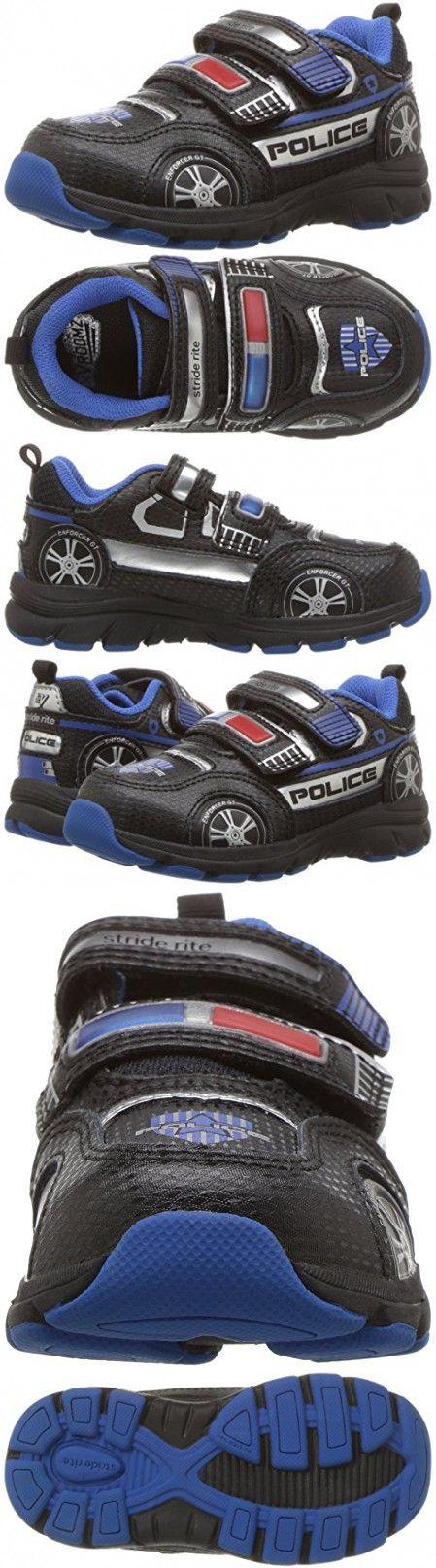 Stride Rite Boys' Vroomz Police Car Sneaker, Black/Silver, 9.5 M US Toddler