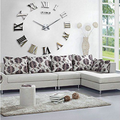 Yikebo(TM) Time Letters Roman Numbers Luxury Large Size Moderen DIY  Frameless Quartz Large Big Mirror Surface Effect Wall Clock Oversized Clock  Living Room ... - Best 25+ Silver Wall Clock Ideas On Pinterest Silver Walls, Wall