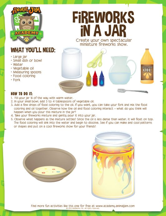 Firework Jar - Animal Jam Academy.  Solubility, oil vs water& food coloring; density.