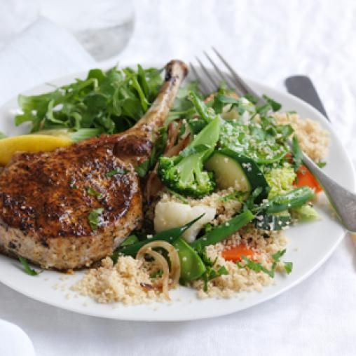 Harissa pork cutlets with vegie couscous