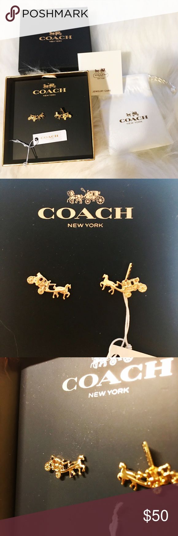 NEW! Signature Coach carriage stud earrings NWT signature Coach horse and carriage stud earrings with  tiny plated hang tag in Rose Gold. Comes with gift box, dust bag, and jewelry care card. Coach Jewelry Earrings