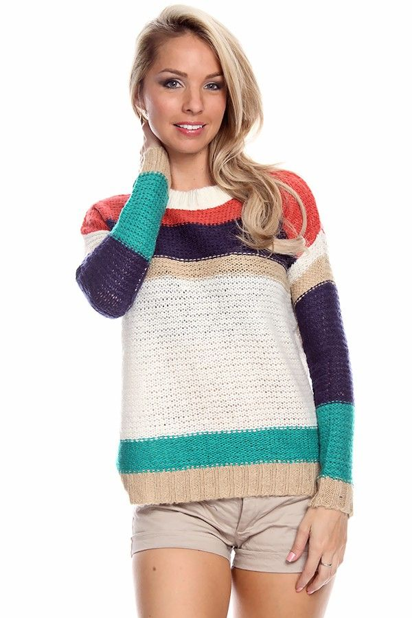 IVORY DARK BLUE CORAL TAN TEAL STRIPE KNIT PULLOVER SWEATER
