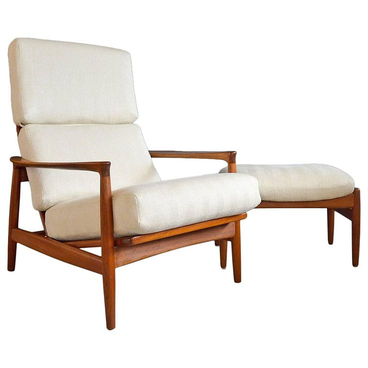 Folke Ohlsson for DUX Walnut Lounge Chair with Ottoman