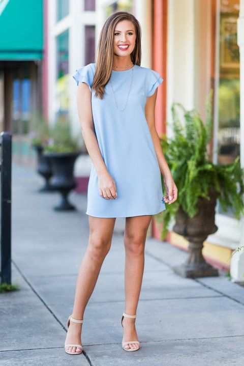 """""""Passion For Pretty Dress, Baby Blue""""We know you have such a strong passion for pretty things! So, we know you are going to love this dress with it's fluttering sleeves! #newarrivals #shopthemint"""