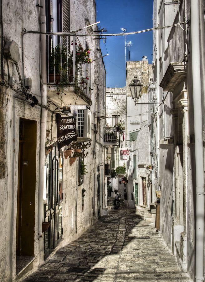 The pretty cobblestone alleys in Ostuni (Brindisi)